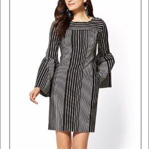Flared sleeve striped shift dress